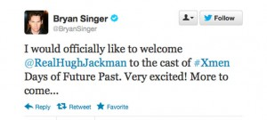 le tweet de Bryan Singer | x-men days of futur past