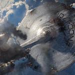 """Star trek into darkness: le """"super enterprise"""" chute sur Londre"""