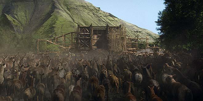 Les animaux rentrent dans l'arche de Noé